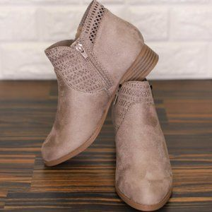 Taupe suede bootie with detail around the ankle